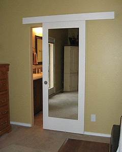 wall mount door instead of retrofit pocket door johnson With barn door with mirror on one side