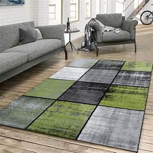 Teppich Grün Grau : teppich wohnzimmer modern kariert meliert grau schwarz gr n moderne teppiche ~ Markanthonyermac.com Haus und Dekorationen