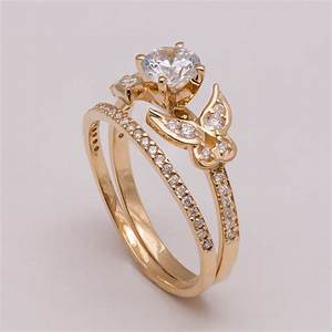 butterfly bridal set gold and diamond engagement ring With butterfly wedding rings