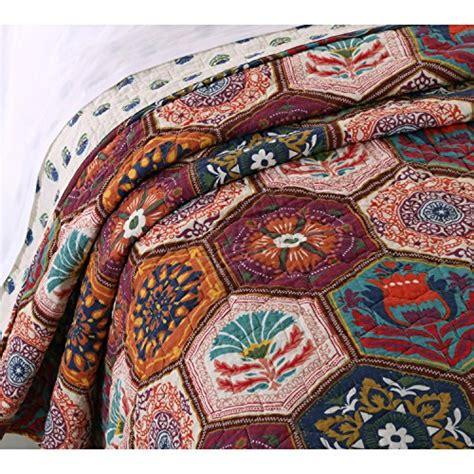 boho moroccan quilt set  shams geometric pattern