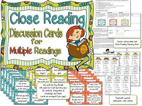close reading discussion cards  graphic organizers