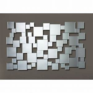 Miroir Rectangulaire Mural : gizeh miroir mural design multi carreaux achat vente miroir mdf bois carton cdiscount ~ Teatrodelosmanantiales.com Idées de Décoration