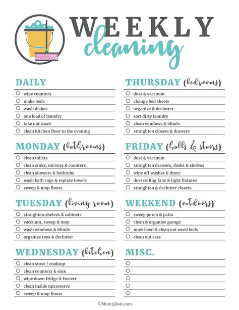 cleaning list printable cleaning checklists for daily weekly and monthly cleaning