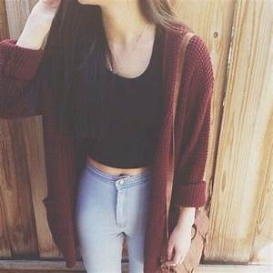 crop top, cute outfit, jeans, my style, outfit, tumblr ...