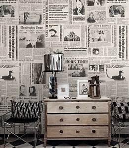 Journal papier peint New York Times nostalgique Wall Art noir