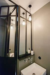 Porte de douche et miroirs en metal conception et for Porte de douche coulissante avec meuble de salle de bain ancien occasion