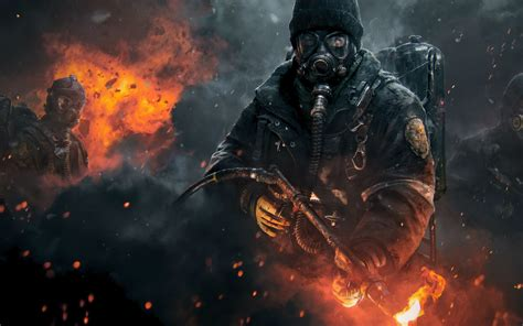 hd background tom clancys  division game fire shooter