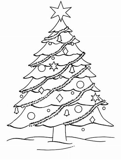 Coloring Tree Christmas Pages Printable Trees Printables