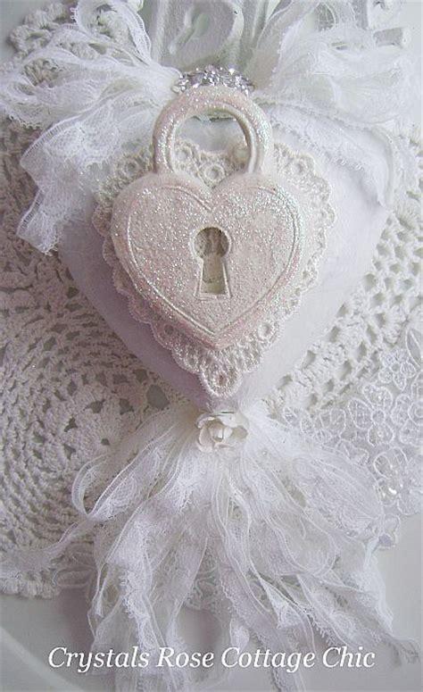 shabby chic valentines day heart ornament white  white