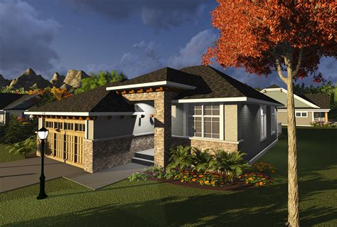 2 Bedroom Prairie Style Ranch 89979AH Architectural
