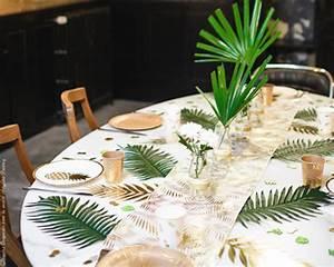 Chemin De Table Tropical : chemin de table feuille de palmier or d co tropical chic ~ Melissatoandfro.com Idées de Décoration