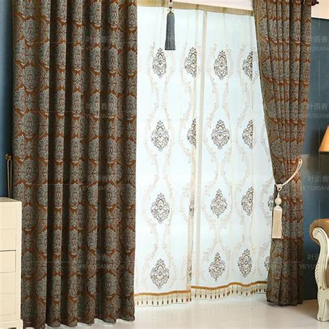 brown damask thick chenille soundproof curtains for windows