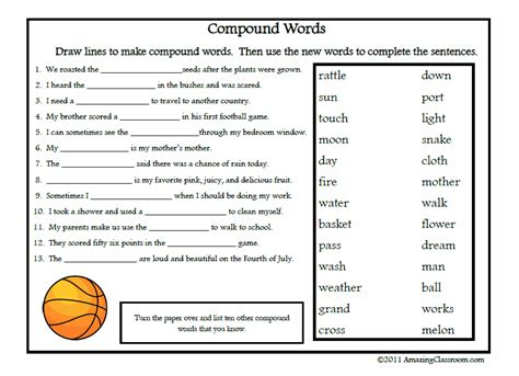 free printable vocabulary worksheets compound words