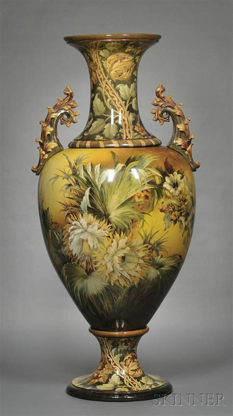 large doulton lambeth faience floor vase sale number