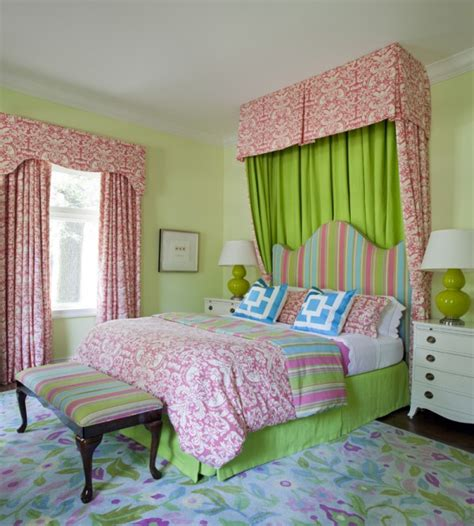 Pink And Green Girl's Bedding  Contemporary  Girl's Room