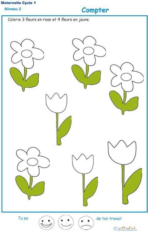 compter les fleurs exercice  pour compter en maternelle