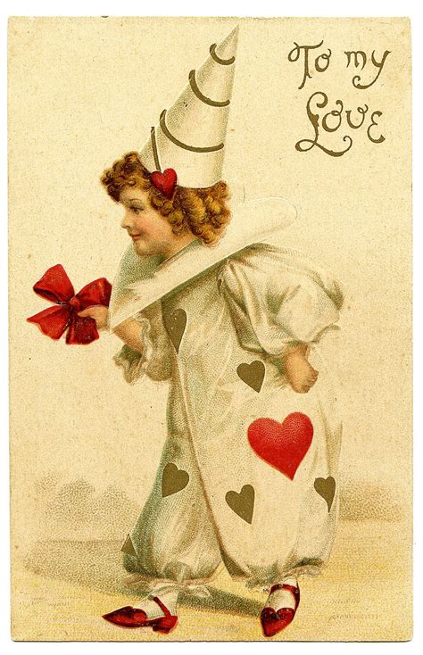 vintage valentines day clip art darling clown girl
