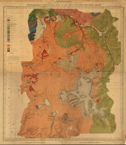Map National Park Geological Yellowstone Congress Library