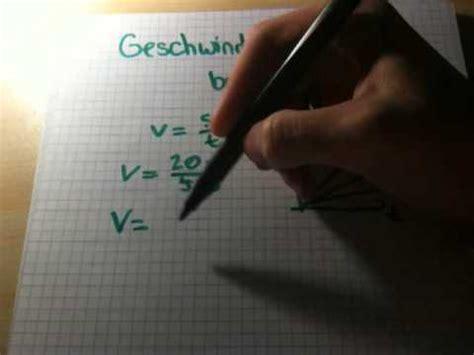 geschwindigkeit berechnen physik verstehen youtube
