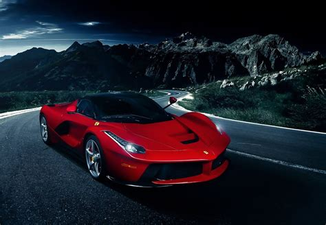 wallpaper cars car ferrari laferrari night road