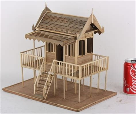 house model thai architectural wood home  story vintage  hand  detailed house