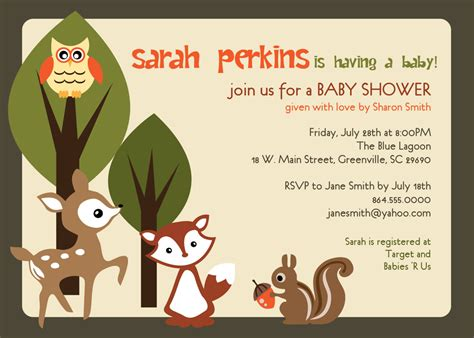 Woodland Creatures Baby Shower Invitations Picture