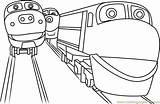 Chuggington Coloring Cartoon Coloringpages101 Trains Printable sketch template