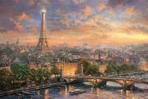 thomas kinkade paris city  love painting paris city