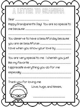Grandparent's Day Letter: Fill-in-the-Blank by Rockin