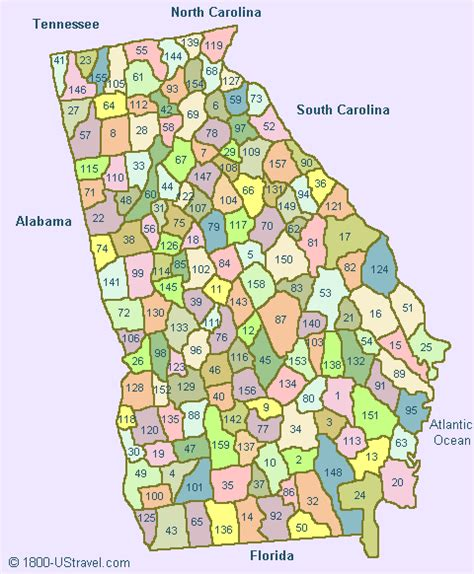 map  georgia counties   ustravel  travel guides