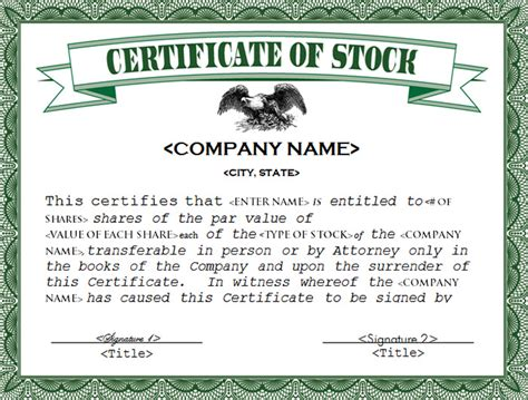 Company Certificate Template by 21 Stock Certificate Templates Free Sle Exle