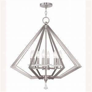 Livex lighting diamond light brushed nickel chandelier