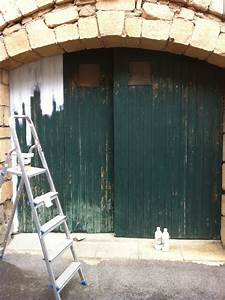 dominante bois chantier de peinture sur des volets et With peinture de porte de garage