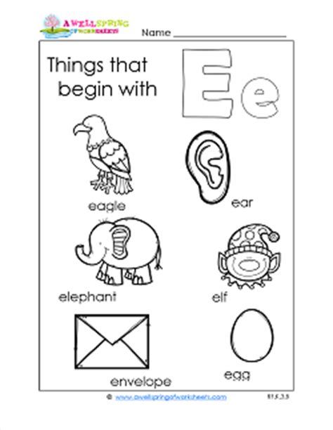 things that start with the letter e subject a wellspring of worksheets 30321