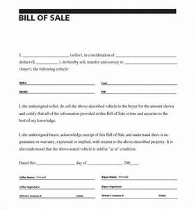 auto bill of sale 8 free word excel pdf format With bill of sale template for a car