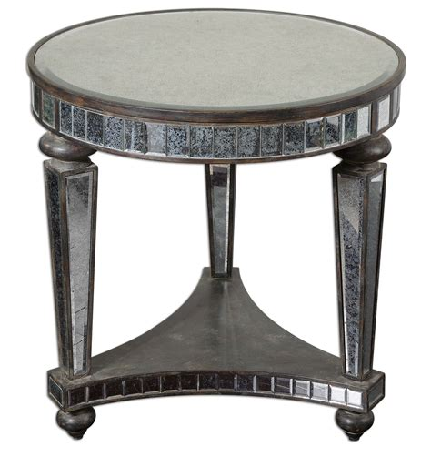 black vintage table l old and vintage round mirrored accent table with shelves