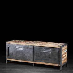 console entree acier et bois restauration de mobier With meuble style campagne chic 2 meuble tv en bois recycle 1 porte 2 tiroirs 2 niches