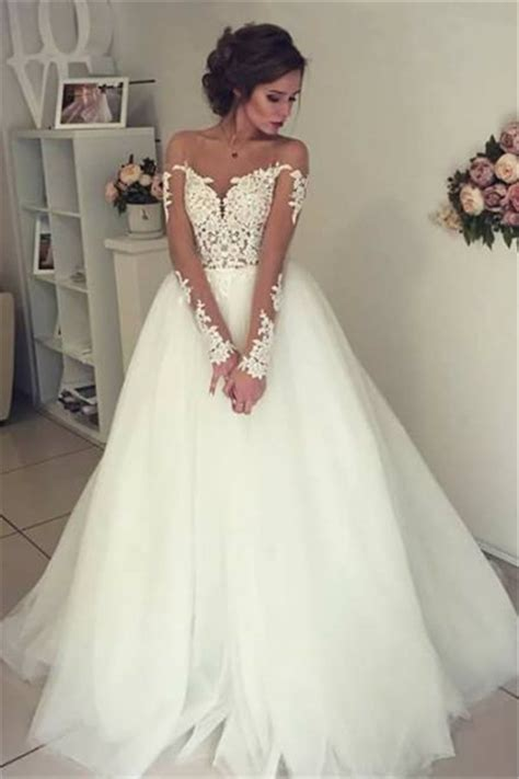 Sheer Long Sleeve Lace Wedding Dresses 2018 Open Back