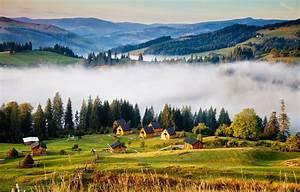 Wallpaper, Trees, Mountains, Fog, Houses, Ukraine, Forest