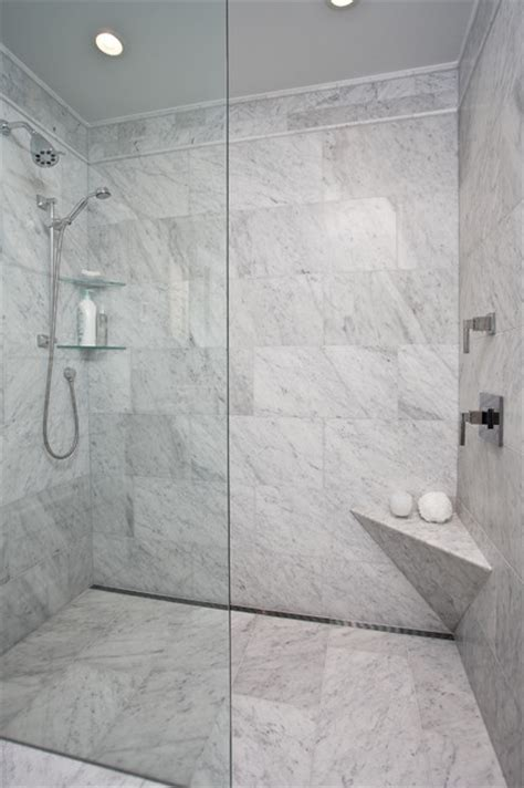 curbless shower  channel drain contemporary