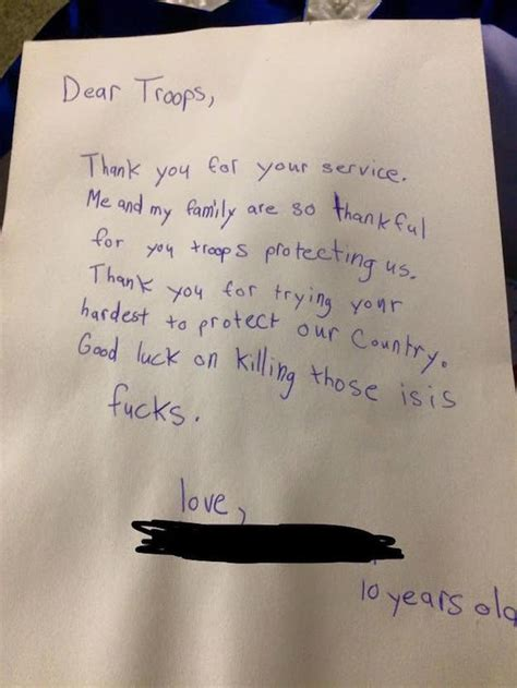 letter boy military encouraging care troops isis those fucks he package wrote enhanced sent hates foul mouthed loves kill