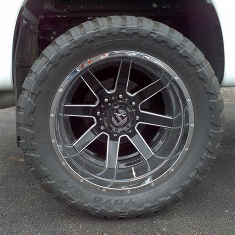 fuel maverick  dually rear black milled wheels