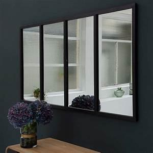Miroir Style Verriere : miroir verri re horizontale rectangulaire m tal noir gm ~ Melissatoandfro.com Idées de Décoration