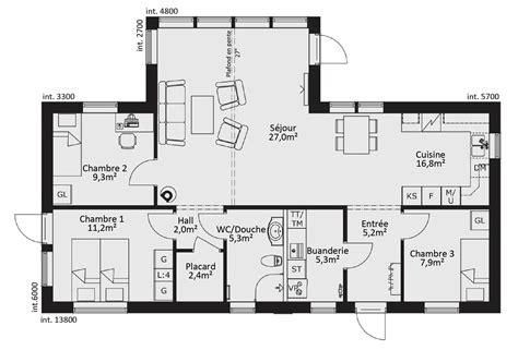 plan maison plain pied 4 chambres gratuit plan de maison ossature bois plain pied 28 images