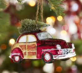 woody car glass ornament pottery barn