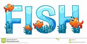 font design for word fish stock vector illustration of With fishing letter name art