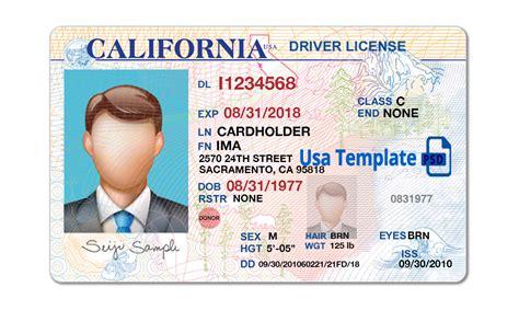 California Driver License Template