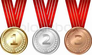 Golden  Silver  Bronze Medals  Isolated On White