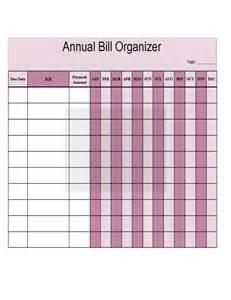 Printable Bill Organizer Chart