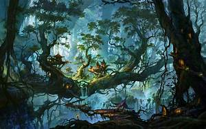Fantastic world Trees Fantasy Nature city art artwork ...